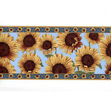 Sunflowers Flower Floral Blue Yellow Wall Paper Border
