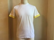 JIL SANDER COOL WHITE AND YELLOW TRIM DETAILS CREWNECK T SHIRT S XL