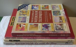 LOT OF 4 WATERCOLOR ART PAINTING INSTRUCTION BOOKS All VG++ 4 HC & 1 PB LOOK!