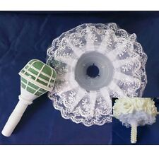 1PCS BOUQUET HANDLE HOLDER+WHITE LACE COLLAR FOR WEDDING BRIDAL FLORAL FLOWER NT
