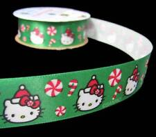 """3 Yds Hello Kitty Christmas Peppermint Candy Green Offray Satin Ribbon 7/8""""W"""