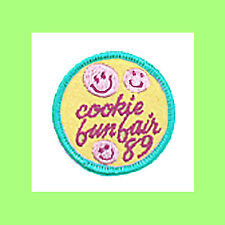 1989 COOKIE Sale FUN FAIR Patch Girl Scout Happy Face NEW Badge Multi=1 Ship Chr