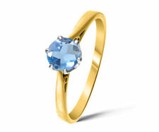 Topaz Yellow Gold Solitaire Engagement Fine Rings