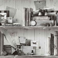 Noir Blanc Papier Peint éclectique collector objets rustique étagères Vintage Old School