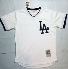 Los Angeles Dodgers LA Mesh Vintage Throwback Shirt Jersey Medium White Black