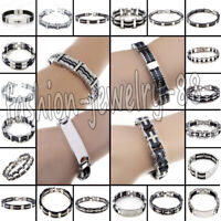 Mens Silver Stainless Steel Rubber Bracelet Bangle Wristband Cuff Chain Jewelry