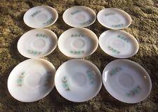 FIRE KING Oven Ware Bonnie Blue Carnation Flower Tea Saucer 9-Pieces