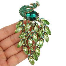 Large Peacock Peafowl Animal Green Brooch Pin Multi Austrian Crystal Gorgeous
