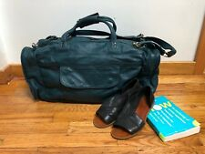 Vintage Green Genuine Leather Overnight Duffle Gym Bag Made In Mexico