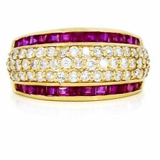 Ruby and Diamond Ring in 14k Yellow Gold 2.10 Carat Dome Band