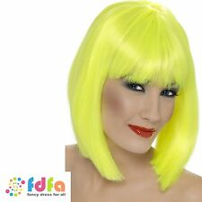NEON YELLOW GLAM SUPER MODEL WIG MOD PUNK RAVE GIRL - womens ladies fancy dress