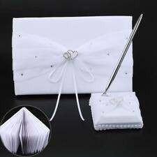 NEW White Wedding Guest Book Table Pen Set With Satin Base and Double Heart Trim