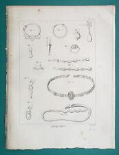 GREEK JEWELRY Ear-rings Gemstone Pendants Necklace - 1804 Antique Print