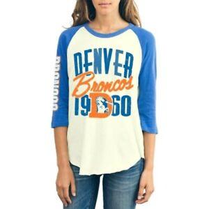 Denver Broncos NFL Junk Food Raglan Baseball Tee Women's T-Shirt MEDIUM