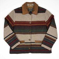 Vintage Womens Woolrich Wool Coat Sz Medium Leather Collar Aztec Striped Pattern