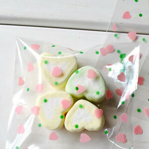 Cute Little Heart Cello Cellophane Wedding Party Favour Sweet Macarons Gift Bags
