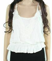 Mystree Tank Top White Ivory Size Small S Junior Lace-Trim Scoop-Neck $44- 832