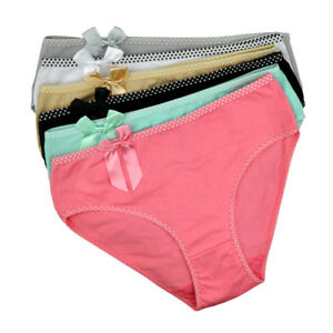 Ladies Knickers Women Underwear Cotton Bow Mid- Waisted Briefs Panties 3,6 Pack