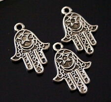 15 Tibetan Silver Hamsa Hand Protection Charm Pendant Double Sided 25mm (TSC126)