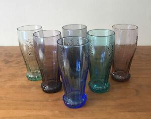 COCA COLA UPSIDE DOWN GLASSES Set Of 6 Different Colours (EUC)