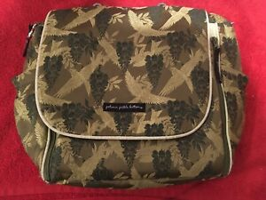Petunia Pickle Bottom Diaper Bag Back Pack & Shoulder Straps Green Paisley Birds