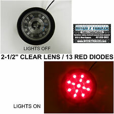 """(1) CLEAR LENS / RED 13 LED Light Trailer 2-1/2"""" round,Clearance marker 2.5"""""""