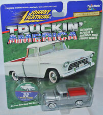 Truckin America - 1955 CHEVY CAMEO PICKUP - silver/red - 1:64 Johnny Lightning