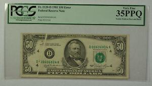 1981 $50 Bill Error Gutter Fold Federal Reserve Note FRN PCGS 35PPQ Fr. 2120-D