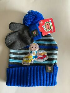 Cocomelon Toddler BOYS One Size Beanie Hat Mittens Set JJ Rainbow New With Tags