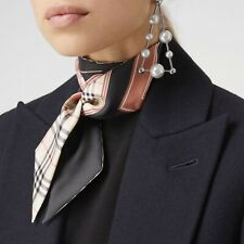 0b69b1a4e8b9 Burberry Archive Horse Print Silk Skinny Neck Scarf Reversible Beige  multicolor