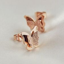 18K Rose Gold Stainless Steel Frosted Wings Butterfly Fashion Stud Earrings