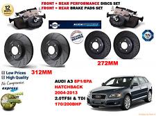 para AUDI A3 HB SB 2004-2013 DELANTERO Y Trasero Rendimiento Juego discos freno
