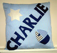 Any Name  Boys PERSONALISED Nautical Cushion GIFT Christening New Baby Present