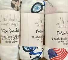 "3 MANHATTAN Kids Swaddles Blankets Baby Organic Bamboo 47"" x 47"" NIB"