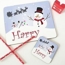 Christmas Personalised Wooden Glossy Snowman Placemat & Coaster Set for Kids