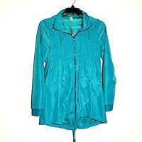 Mondetta NWT Woman M Long Windbreaker Coat Dress Turquoise Shirring on Bodice