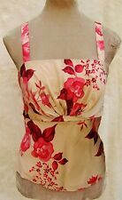 Kaliko Nude Cerise Red Pink Oriental Roses Floral Pure Silk Fitted Cami Top 12
