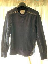 Mens Elvis Jesus Navy Button Sweatshirt. Size S