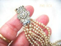 EARLY VINTAGE 1940s ART DECO FOUR STRAND F SEED PEARL NECKLACE FAB PASTE CLASP