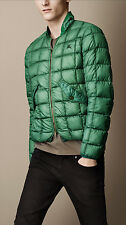 $795 Burberry Brit Down-Filled Quilted Bomber Green Jacket Size M