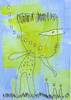 20121317 e9Art ACEO Abstract Figurative Outsider Art Painting Expressionism Brut