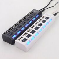 7-Port USB 2.0 Hub + High Speed Adapter ON/OFF Switch For Laptop PC Mac - NEW
