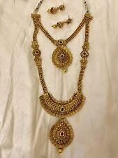 Plated Antique Jewellery.Earrings Necklace Set. *Uk Seller* Indian Designer Gold