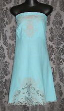 Womens size blue linen/cotton blend strapless dress made by TEMT