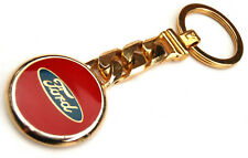 SOLID METAL BRASS CHAIN LINK FORD EMBLEM BADGE KEY RING FOB