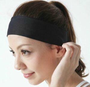 Black Sports Yoga Gym Stretch Cotton Headband Hair Band Sports Headbands