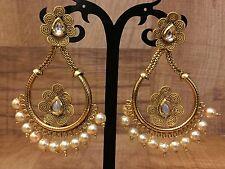 New Indian Ethnic Gold Plated Pearl Moti White Jhumki Bali Drop Earring