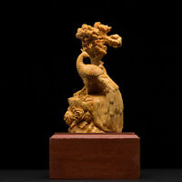 Rare Old China Boxwood Wood Hand-Carved peacock Animal Statue