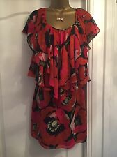 Ladies Ted Baker Poppy Floral Frill Dress / Tunic Size 8 Wedding Cruise Party