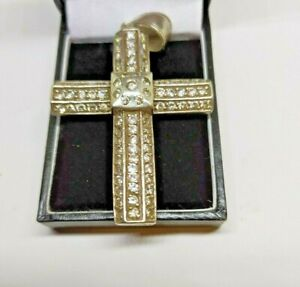Large silver cross stone set Pre owned Hight of cross 75mm Comes boxed
